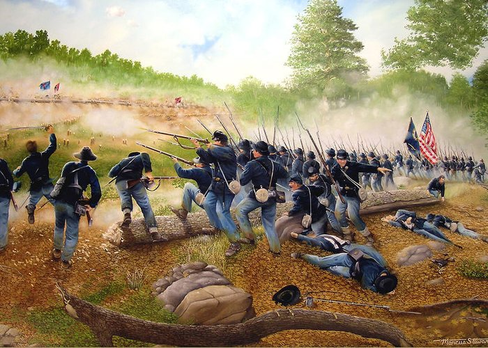 Civil War Greeting Card featuring the painting Battle Of Utoy Creek by Marc Stewart