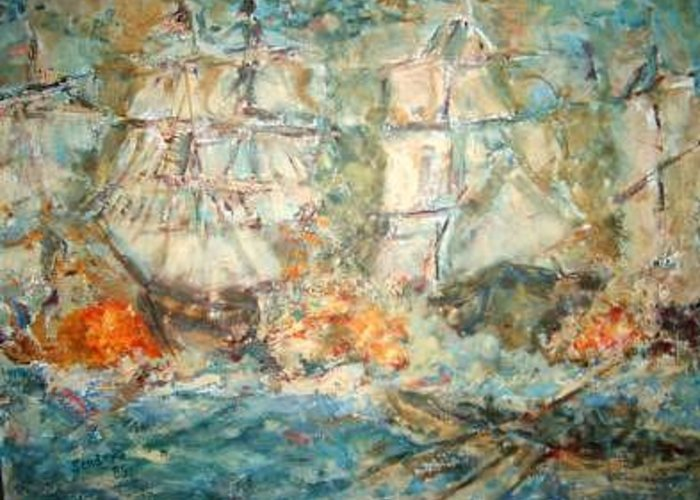 Ships Firing At Each Other-fire And Smoke Greeting Card featuring the painting Battle Ships by Joseph Sandora Jr
