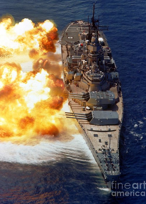 Vertical Greeting Card featuring the photograph Battleship Uss Iowa Firing Its Mark 7 by Stocktrek Images