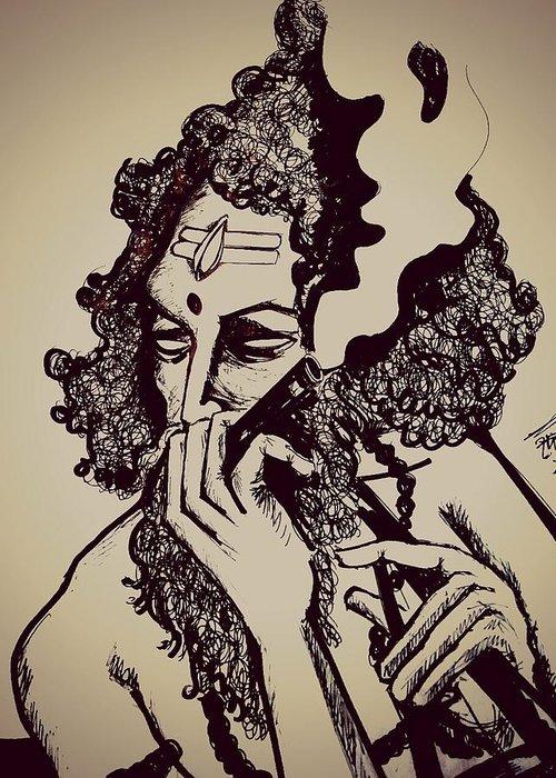 Baul Shiva Smoking Weed Greeting Card For Sale By Debarshi Ganguly