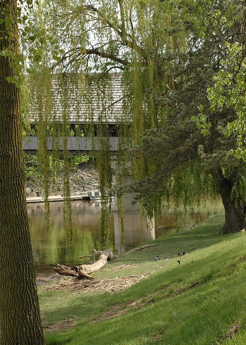 Usa Greeting Card featuring the photograph Bavarian Covered Bridge Over The Cass River Frankenmuthmichigan by LeeAnn McLaneGoetz McLaneGoetzStudioLLCcom
