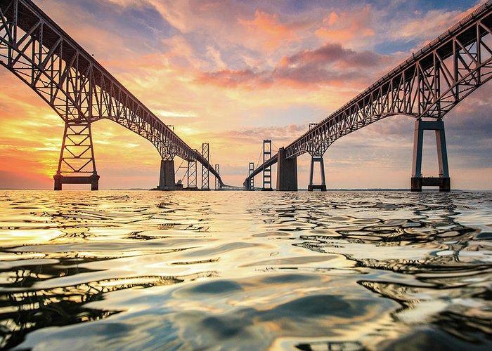 Bay Bridge Greeting Card featuring the photograph Bay Bridge Impression by Jennifer Casey
