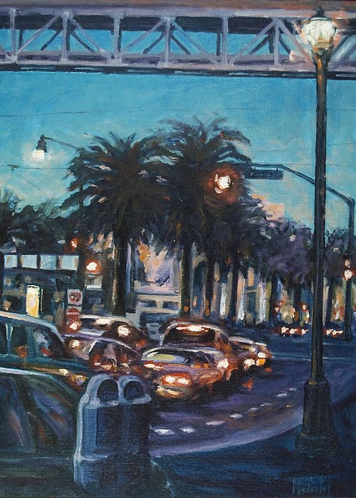 City Scape Greeting Card featuring the painting Bay Bridge by Rick Nederlof