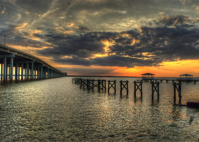 Bay St. Louis Greeting Card featuring the photograph Bay Bridge Sunset by Beth Gates-Sully