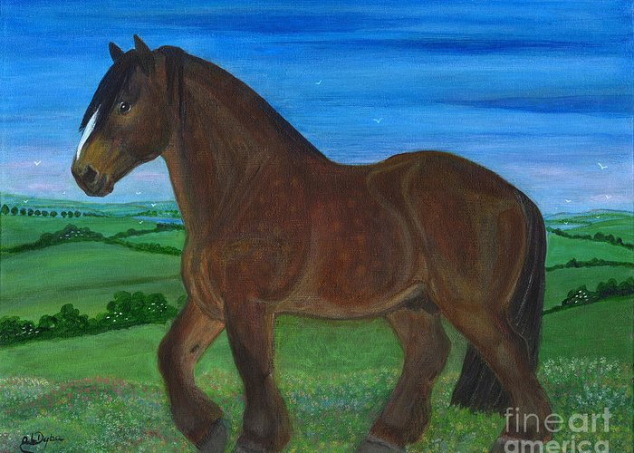 Folkartanna Greeting Card featuring the painting Bay Horse by Anna Folkartanna Maciejewska-Dyba
