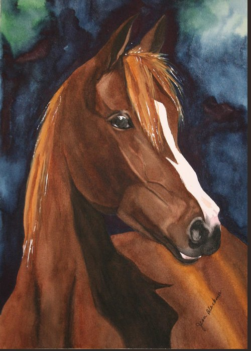 Horse Greeting Card featuring the painting Bay On Blue 2 by Jean Blackmer