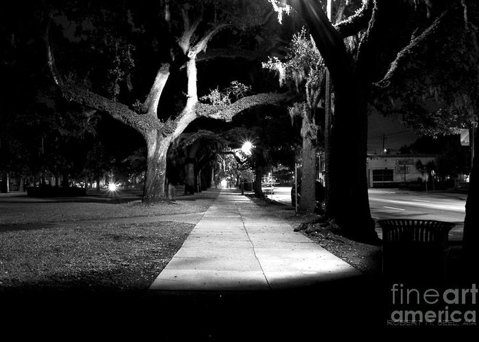 Rob Seel Greeting Card featuring the photograph Bay Street Midnight Path by Robert M Seel