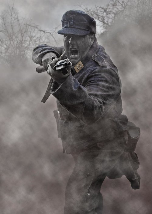 Soldier Greeting Card featuring the photograph Bayonet Warrior by Mark H Roberts