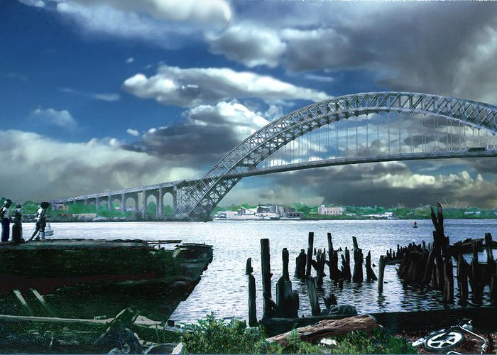 Seascape Greeting Card featuring the photograph Bayonne Bridge by Steve Karol