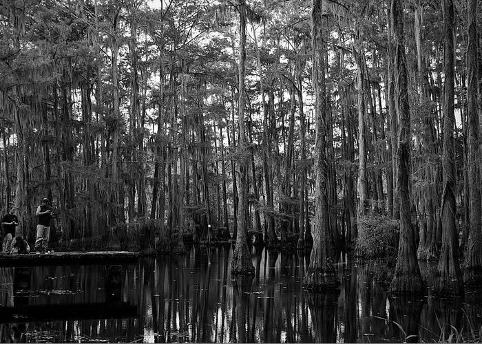 Swamps Greeting Card featuring the photograph Bayou Family Fishing by Ester McGuire