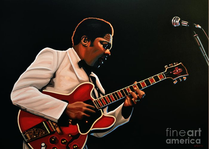 Bb King Greeting Card featuring the painting B. B. King by Paul Meijering