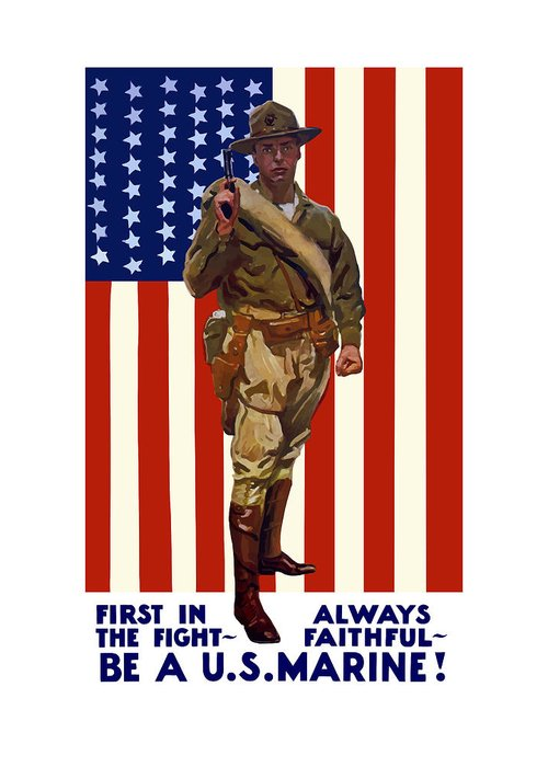 Marine Corps Greeting Card featuring the painting Be A Us Marine by War Is Hell Store