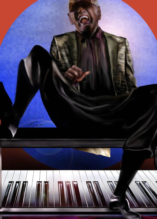 Ray Charles Greeting Card featuring the painting Be Good To Ya - Ray Charles by Reggie Duffie