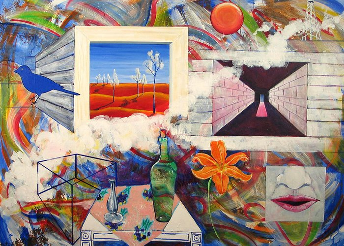 Landscape Greeting Card featuring the painting Be Here Now by Rollin Kocsis