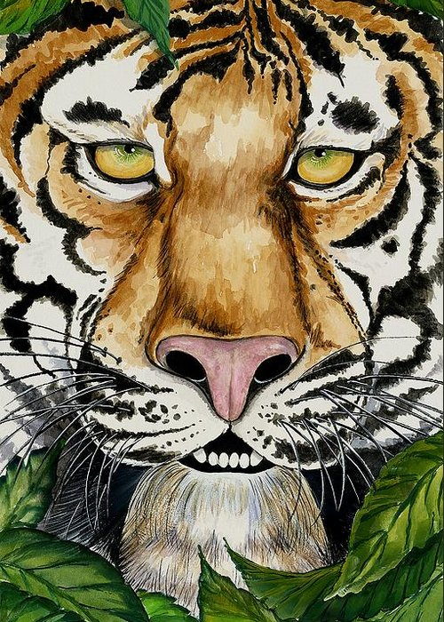 Art Greeting Card featuring the painting Be Like A Tiger by Carol Sabo