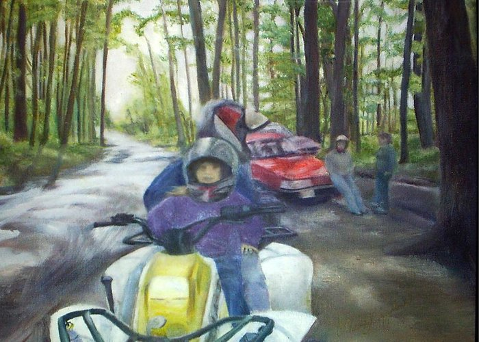 Quad Greeting Card featuring the painting Be Right Back by Sheila Mashaw