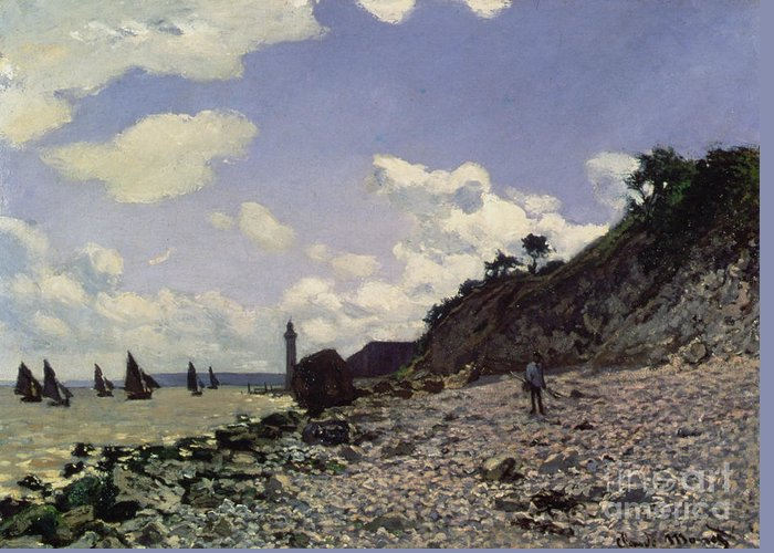 Monet Greeting Card featuring the painting Beach At Honfleur by Claude Monet