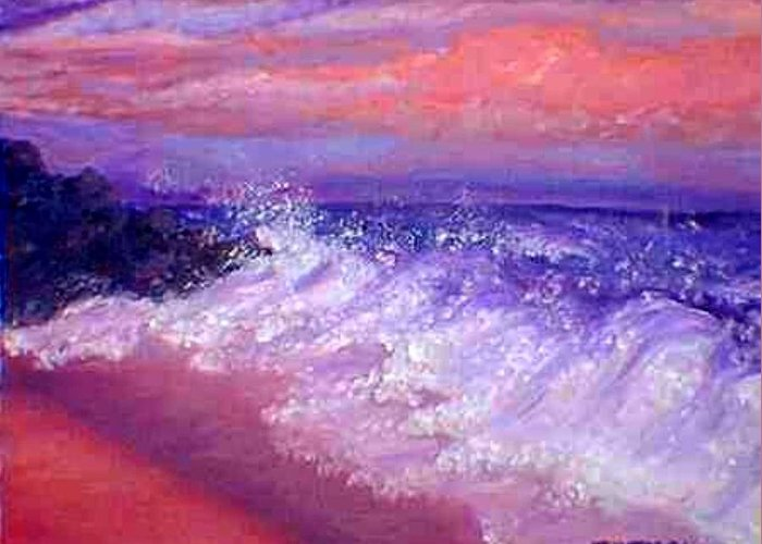 Beach Greeting Card featuring the painting Beach At Sunrise by Tanna Lee M Wells
