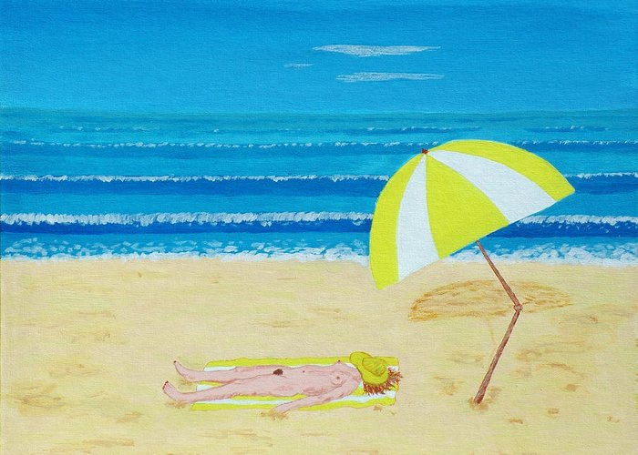 Nude Greeting Card featuring the painting Beach Babe With All She Needs by Alex Mortensen