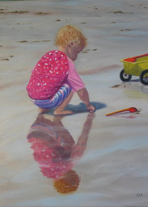 Baby Greeting Card featuring the painting Beach Baby by Lea Novak