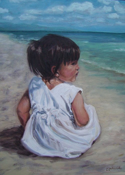 Children Greeting Card featuring the painting Beach Baby by Tahirih Goffic