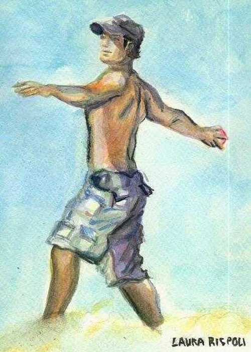 Man On Beach Greeting Card featuring the painting Beach Boy by Laura Rispoli