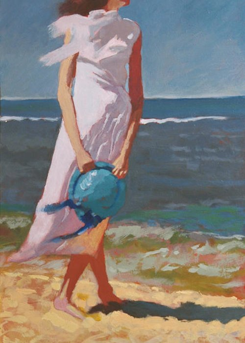 Beach Greeting Card featuring the painting Beach Breeze by Robert Bissett