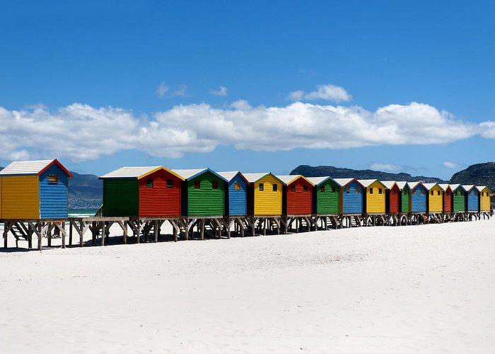 Beach Greeting Card featuring the photograph Beach Cabins by Fabrizio Troiani