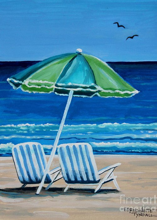 Beach Greeting Card featuring the painting Beach Chair Bliss by Elizabeth Robinette Tyndall