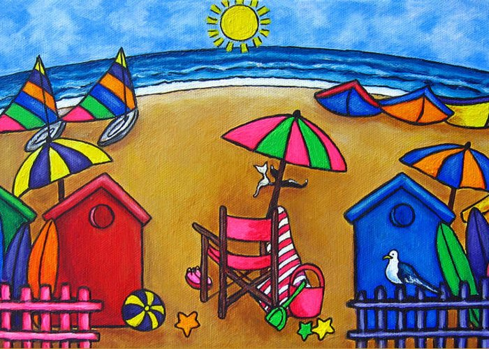 Beach Greeting Card featuring the painting Beach Colours by Lisa Lorenz