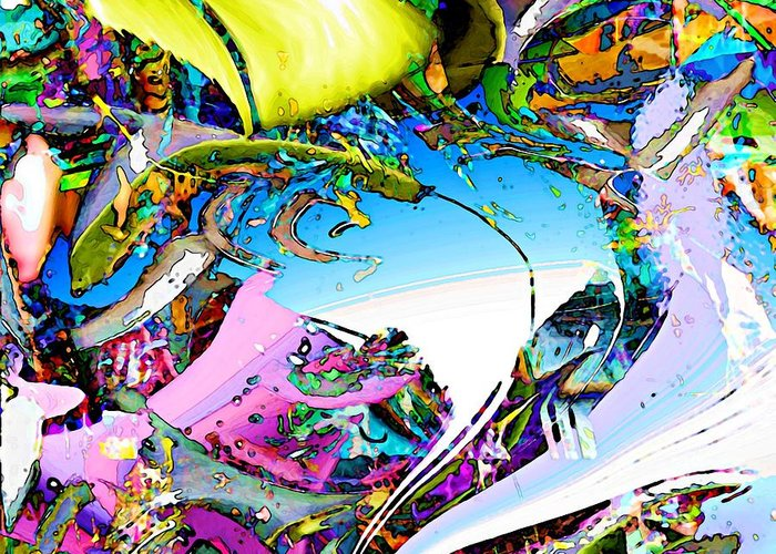 Abstract Greeting Card featuring the digital art Beach by Dave Kwinter