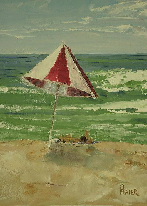 Seascape Greeting Card featuring the painting Beach Day by Pete Maier