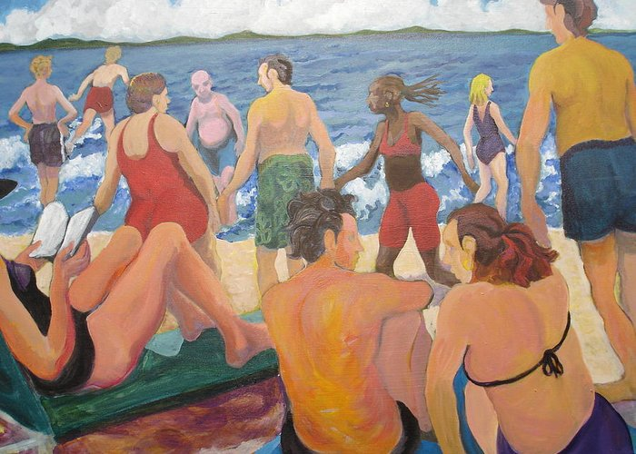 People Greeting Card featuring the painting Beach Day by Rufus Norman