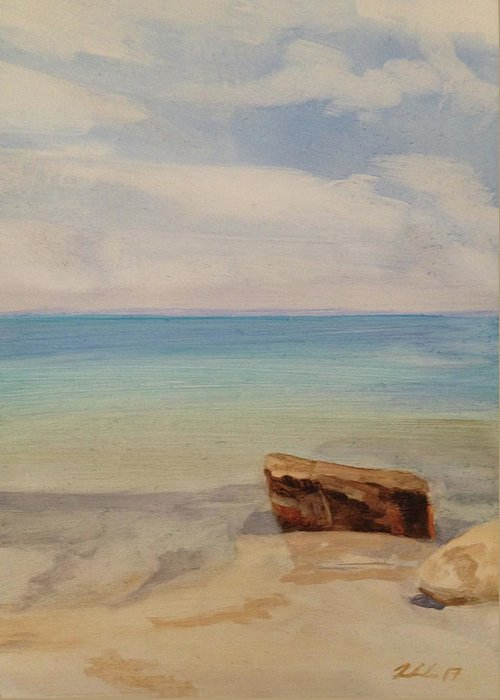 Landscape Greeting Card featuring the painting Beach Day Woodshole by Cynthia Woehrle