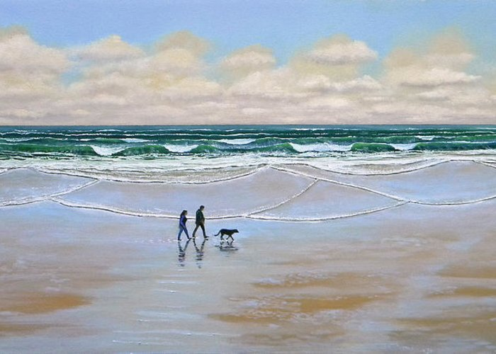Beach Greeting Card featuring the painting Beach Dog Walk by Frank Wilson