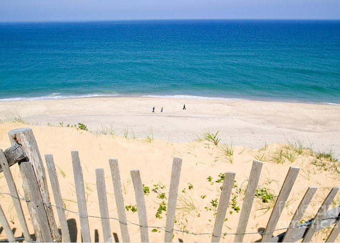 Beach Fence Greeting Card featuring the photograph beach fence and ocean Cape Cod by Matt Suess