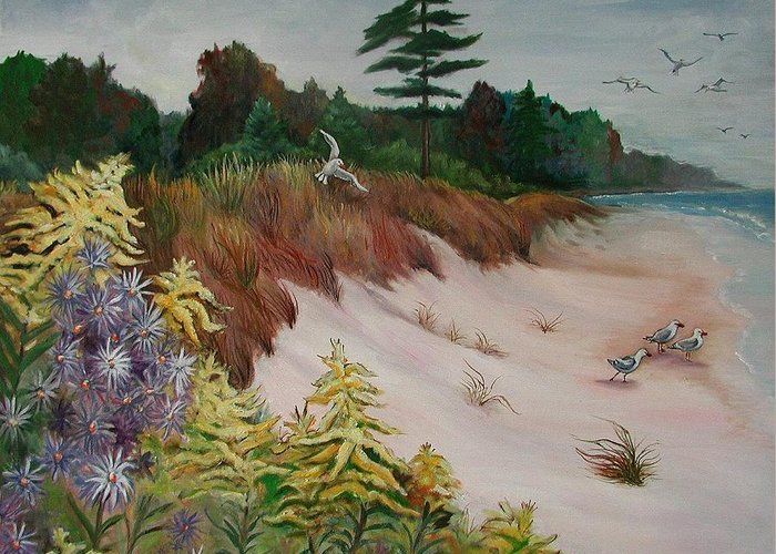 Original Greeting Card featuring the painting Beach by Fran Kelly