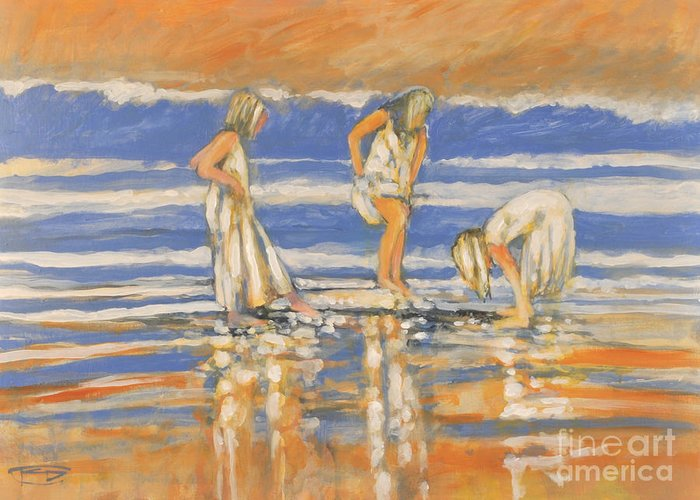 Girls Greeting Card featuring the painting Beach Friends by Kip Decker