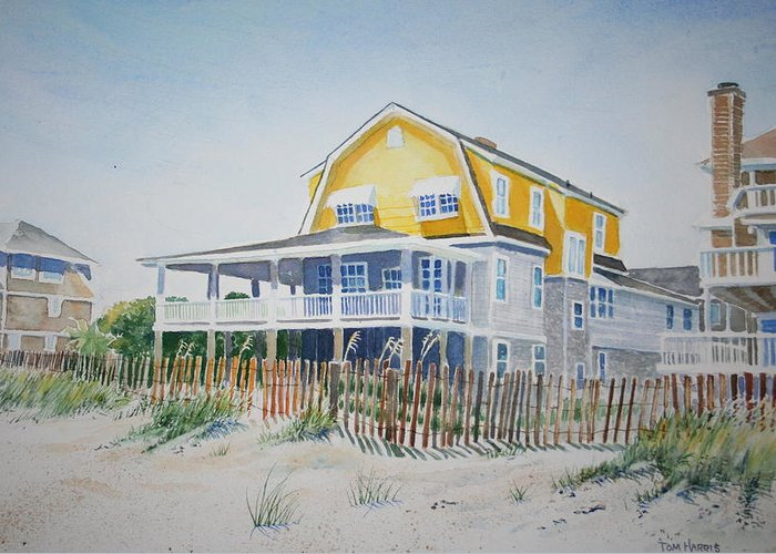 Ocean Greeting Card featuring the painting Beach Front At Wrightsville Beach by Tom Harris