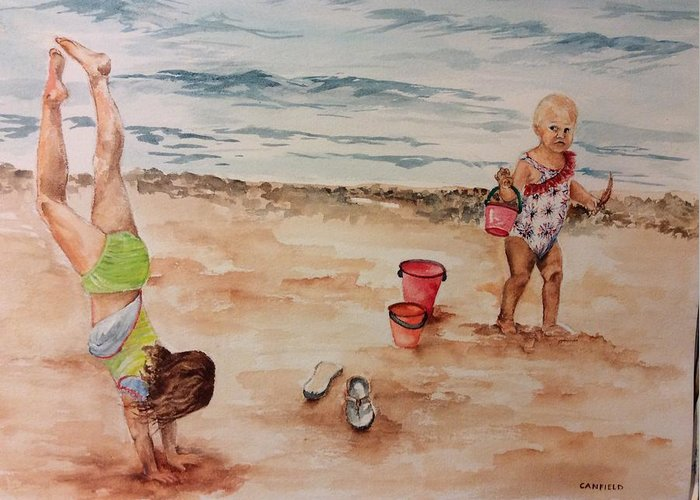 Children Greeting Card featuring the painting Beach Fun. 1 by Ellen Canfield
