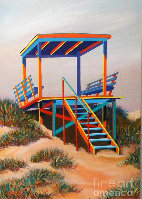 Landscape Greeting Card featuring the painting Beach Gate by Hugh Harris