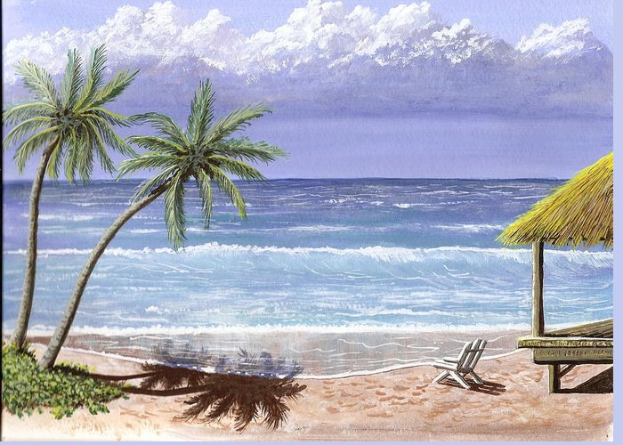 Ocean Greeting Card featuring the painting Beach House by Don Lindemann
