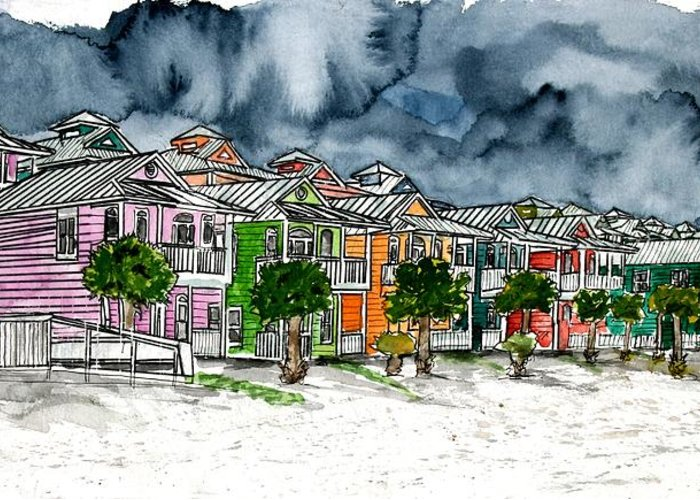 Watercolor Greeting Card featuring the painting Beach Houses Watercolor Painting by Derek Mccrea