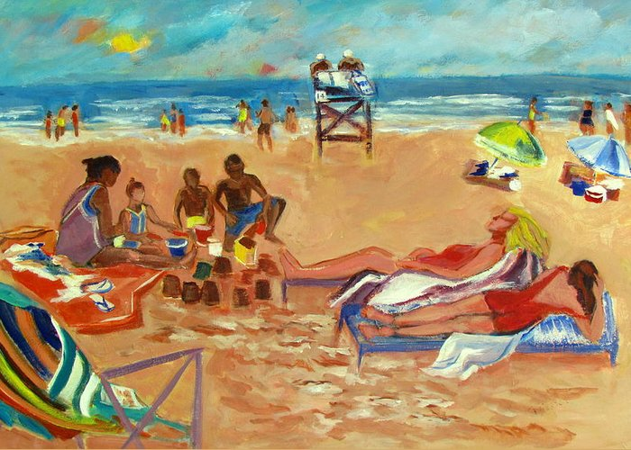 Beach Greeting Card featuring the painting Beach In August by Betty Pieper