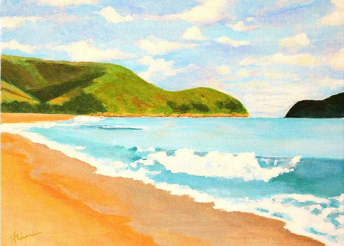 Beach Greeting Card featuring the painting Beach In Brazil by Flavia Lundgren