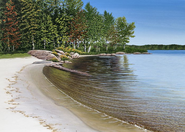 Landscapes Greeting Card featuring the painting Beach In Muskoka by Kenneth M Kirsch