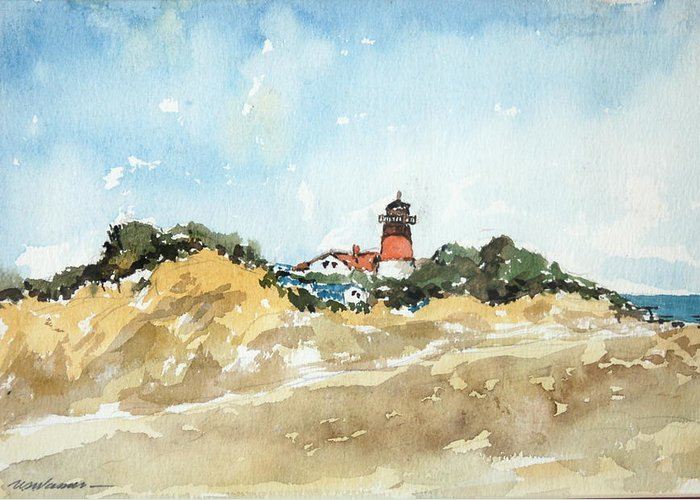 Beachscape Greeting Card featuring the painting Beach Light House by Ujjagar Singh Wassan