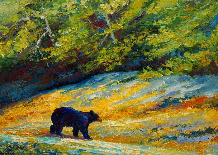 Bear Greeting Card featuring the painting Beach Lunch - Black Bear by Marion Rose