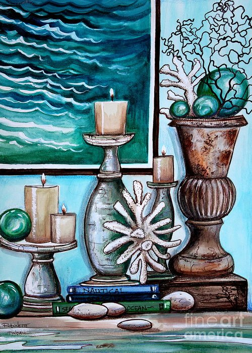 Beach Greeting Card featuring the painting Beach Nautical Decor by Elizabeth Robinette Tyndall