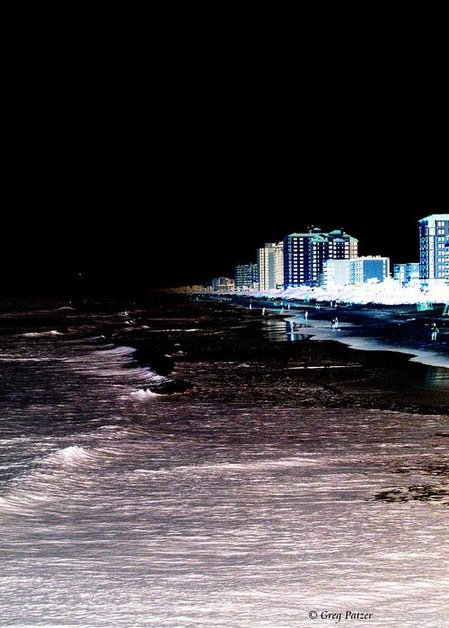 Patzer Greeting Card featuring the photograph Beach Night by Greg Patzer